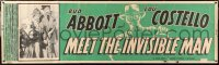 6w005 ABBOTT & COSTELLO MEET THE INVISIBLE MAN paper banner 1951 Bud & Lou, cool monster art, rare!