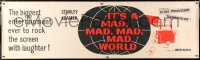 6w010 IT'S A MAD, MAD, MAD, MAD WORLD paper banner 1964 best different Saul Bass-like art, rare!