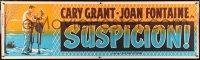 6w014 SUSPICION paper banner R1953 Alfred Hitchcock, art of Cary Grant & Joan Fontaine, very rare!