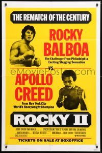 6w180 ROCKY II 1sh 1979 Sylvester Stallone & Carl Weathers as Creed, the rematch of the century!