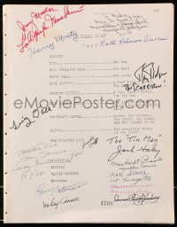 6w087 WIZARD OF OZ signed script R1960s by Ray Bolger, Jack Haley AND THIRTEEN Munchkins!