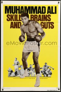 6w181 SKILL BRAINS & GUTS 1sh 1975 best image of Muhammad Ali in boxing trunks & gloves raised!