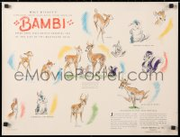 6w200 BAMBI 18x24 special poster 1941 Disney cartoon classic, preliminary art of the characters!