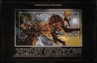 6w203 FLASH GORDON foil heavy stock 25x38 special poster 1980 best horizontal art by Philip Castle!