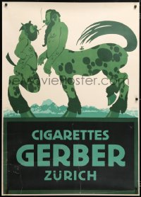 6w020 GERBER CIGARETTES 34x47 Swiss advertising poster 1900s Klinger art of centaur & satyr smoking!