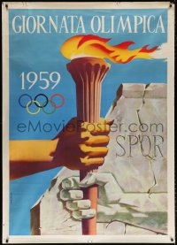 6w023 GIORNATA OLIMPICA 1959 39x55 Italian Olympic poster 1959 wonderful Gregori art of torch pass!