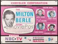 6w143 MILTON BERLE SPECTACULAR 38x40 TV poster 1962 guests Jack Benny & Lena Horne, ultra rare!