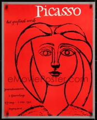 6w191 PICASSO 23x28 Dutch museum/art exhibition 1954 great art of Long-Haired Young Girl!