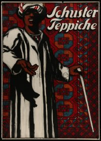 6w021 SCHUSTER TEPPICHE 36x51 Swiss advertising poster 1917 Schaupp art of man with carpet, rare!