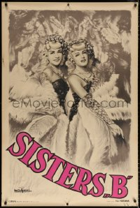 6w024 SISTERS B 32x47 French special poster 1930s great art of two pretty blondes performing!