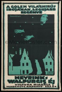 6w198 WALPURGISNACHT 25x38 Hungarian book poster 1918 great Szanto art, by the author of The Golem!