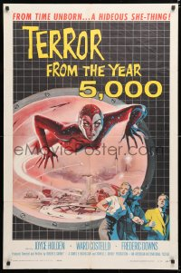 6w182 TERROR FROM THE YEAR 5,000 1sh 1958 from time unborn, sci-fi art of the hideous she-thing!