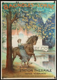 6w193 BAGNOLES DE L'ORNE 29x41 French travel poster 1922 Charles Leandre art of woman taming horse!