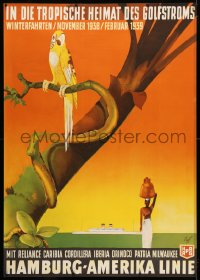 6w019 HAMBURG AMERICA LINE 33x47 German travel poster 1938 Fuss art of parrot & ship, rare!