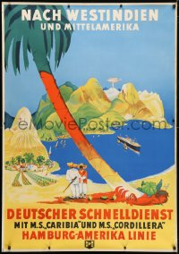 6w018 HAMBURG AMERICA LINE 33x47 German travel poster 1937 Albert Fuss art, West Indies, very rare!