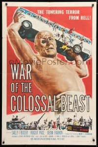 6w186 WAR OF THE COLOSSAL BEAST 1sh 1958 Albert Kallis art of the towering terror from Hell!