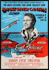 6w054 EVEL KNIEVEL WC 1974 world's greatest daredevil performing his Snake River Canyon jump!