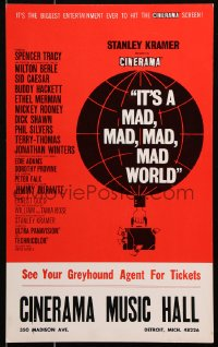 6w055 IT'S A MAD, MAD, MAD, MAD WORLD Cinerama WC 1964 best Saul Bass-like balloon art, very rare!