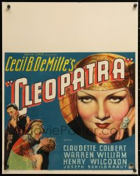 6w050 CLEOPATRA jumbo WC 1934 sexy Claudette Colbert as the Princess of the Nile, Cecil B. DeMille