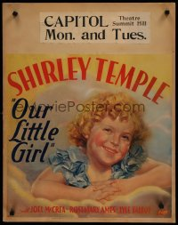 6w051 OUR LITTLE GIRL jumbo WC 1935 wonderful different art of cute smiling Shirley Temple, rare!