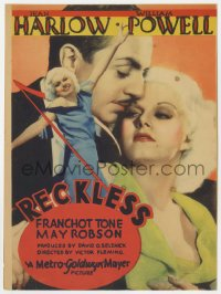 6w140 RECKLESS mini WC 1935 sexy Jean Harlow full-length & also with William Powell, ultra rare!