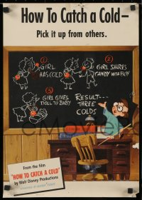 6w206 HOW TO CATCH A COLD group of 6 14x20 special posters 1951 Walt Disney health class cartoon!