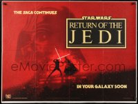 6x170 RETURN OF THE JEDI teaser British quad 1983 Lucas, Struzan art of Luke & Vader fighting!