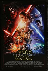 6x267 FORCE AWAKENS int'l advance DS 1sh 2015 Star Wars: Episode VII, Ford, Fisher, cool montage!