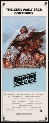 6x119 EMPIRE STRIKES BACK style B insert 1980 George Lucas sci-fi classic, light blue art by Jung!