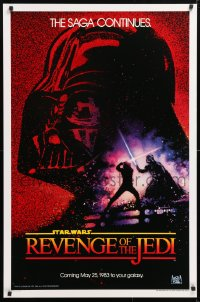 6x154 RETURN OF THE JEDI teaser 1sh 1983 George Lucas' Revenge of the Jedi, Drew Struzan art!