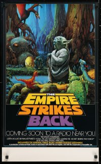 6x122 EMPIRE STRIKES BACK radio poster 1982 cool different art of Yoda by Ralph McQuarrie!