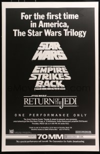 6x001 STAR WARS TRILOGY Avco Cinema Center 1sh 1985 one performance only, one of two posters made!