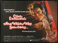6y453 ANY WHICH WAY YOU CAN British quad 1980 cool artwork of Clint Eastwood & Clyde by Bob Peak!