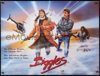6y458 BIGGLES British quad 1986 great artwork of time traveler Neil Dickson with gun!