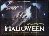 6y480 HALLOWEEN British quad 1979 Carpenter classic, different image of Nancy Kyes attacked!