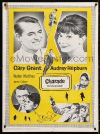 6y017 CHARADE Canadian 1963 art of tough Cary Grant & sexy Audrey Hepburn, completely different!