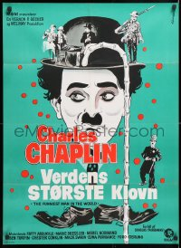 6y023 FUNNIEST MAN IN THE WORLD Danish 1969 great artwork images of Charlie Chaplin by Wenzel!