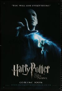 6y444 HARRY POTTER & THE ORDER OF THE PHOENIX teaser DS English 1sh 2007 creepy Ralph Fiennes!