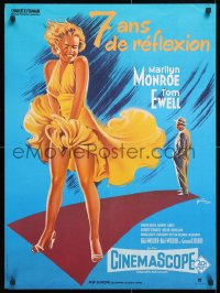 6y873 SEVEN YEAR ITCH French 23x31 R1980s best art of Marilyn Monroe's skirt blowing by Grinsson!