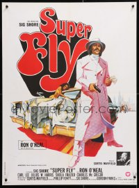 6y876 SUPER FLY French 23x31 1973 great artwork of Ron O'Neal with car & girl!