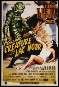 6y913 CREATURE FROM THE BLACK LAGOON French 16x24 R2012 art of monster holding sexy Julie Adams!