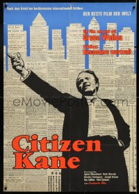6y255 CITIZEN KANE 2-sided German 1962 Orson Welles classic, rare first release, newspaper!