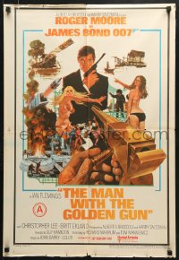 6y067 MAN WITH THE GOLDEN GUN Indian 1974 Roger Moore as James Bond by Robert McGinnis