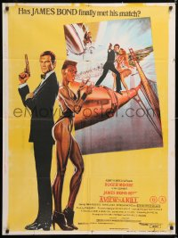 6y071 VIEW TO A KILL Indian 1985 art of Moore as Bond, Tanya Roberts and Walken by Goozee!