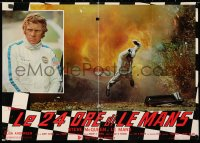 6y656 LE MANS Italian 18x26 pbusta 1971 close up of race car driver Steve McQueen, explosion!
