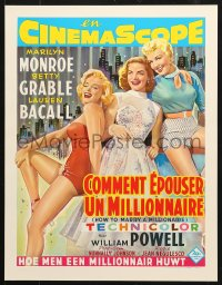6z051 HOW TO MARRY A MILLIONAIRE 15x20 REPRO poster 1990s Marilyn Monroe, Grable & Bacall!