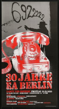 6z055 30 JAHRE EA BERLIN 13x23 German music poster 2010 great art of red rotary telephone!