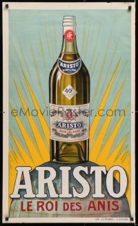 6z077 ARISTO 24x40 French advertising poster 1930s great art of a bottle of the King of Anise!