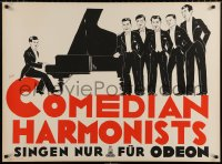 6z057 COMEDIAN HARMONISTS 28x37 German music poster 1930 Friedl art of the singers by piano!