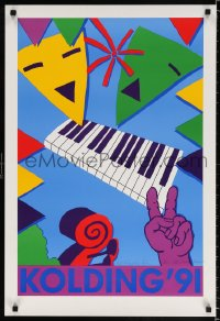 6z064 KOLDING '91 signed 21x30 Danish music poster 1991 colorful artwork of piano and more!